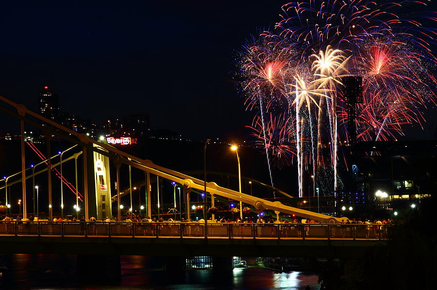 July 4th Fireworks In Pittsburgh Photograph  - July 4th Fireworks In Pittsburgh Fine Art Print