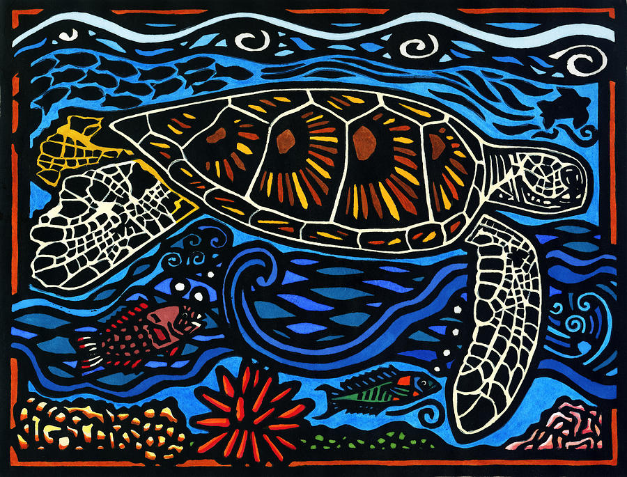 Hawaiian Green Sea Turtle Mixed Media - Kahaluu Honu by Lisa Greig