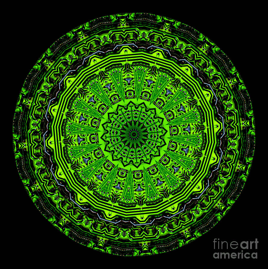 Abstract Digital Art - Kaleidoscope Of Glowing Circuit Board by Amy Cicconi