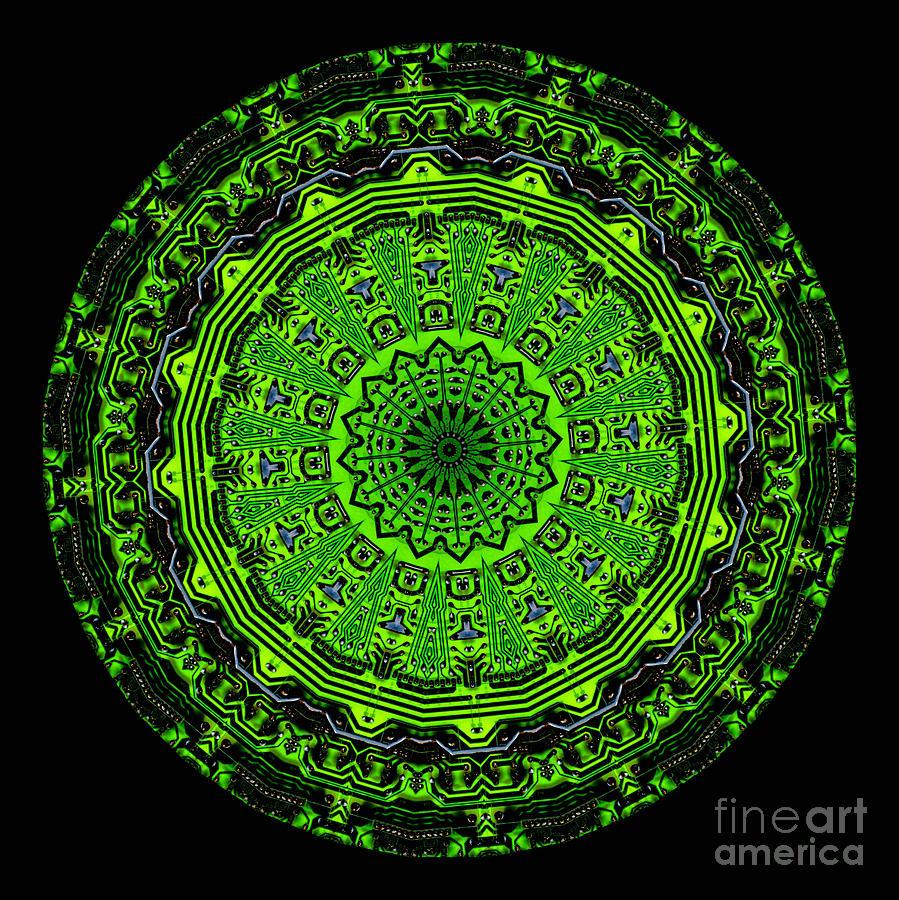 Kaleidoscope Of Glowing Circuit Board Digital Art
