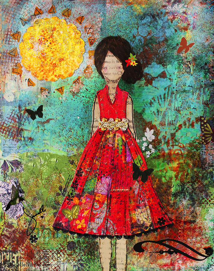 Folk Art Mixed Media - Let The Sun Shine In by Janelle Nichol