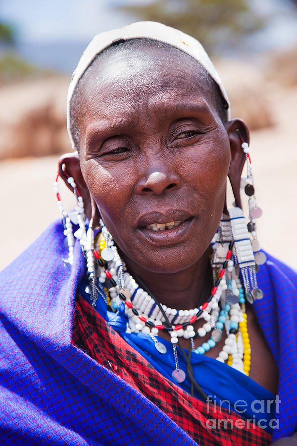 Maasai Woman Portrait In Tanzania Photograph