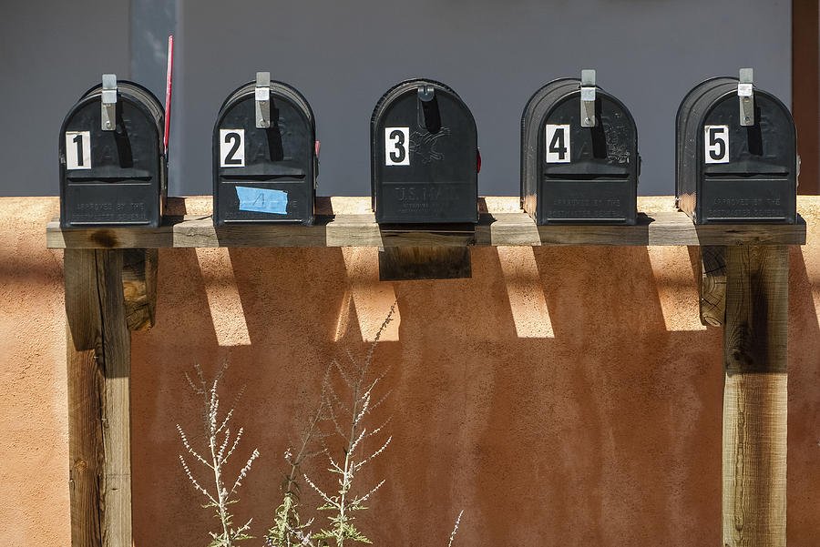 1 2 3 4 5 Photograph - Mailboxes Santa Fe Nm by David Litschel