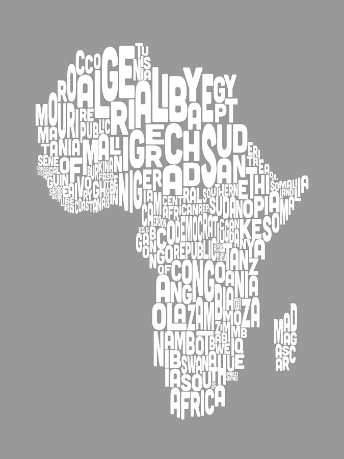 Map Of Africa Map Text Art Digital Art