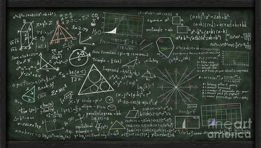 Maths Formula On Chalkboard Digital Art  - Maths Formula On Chalkboard Fine Art Print