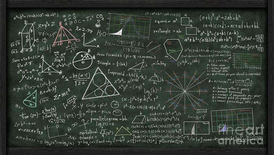 Maths Formula On Chalkboard Digital Art