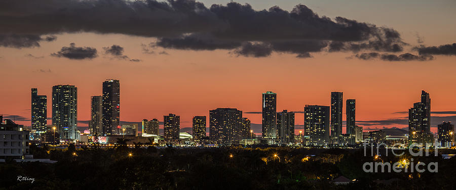 Miami Sunset Skyline Photograph