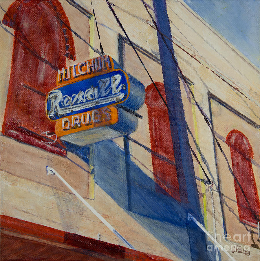 Mitchum Drug Store Painting - Mitchums Drug Store by Janet Felts