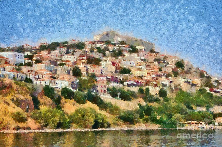 Molyvos Town In Lesvos Island Painting