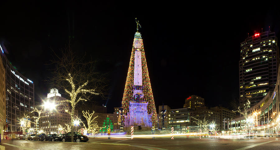 Monument Circle At Christmas Photograph