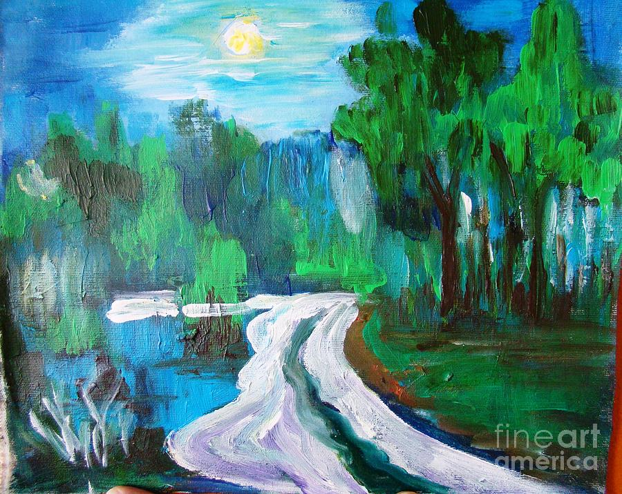 Moonlit Night Painting