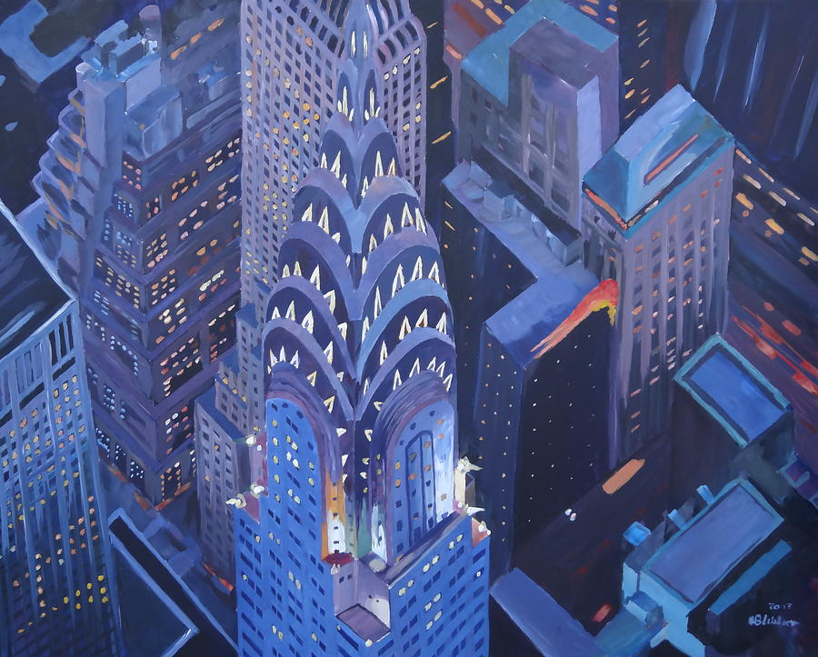 New York City Midtown Manhattan With Chrysler Building At Night Painting  - New York City Midtown Manhattan With Chrysler Building At Night Fine Art Print