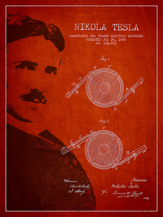 Nikola Tesla Patent From 1886 Drawing