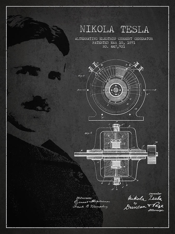 Tesla Drawing - Nikola Tesla Patent From 1891 by Aged Pixel