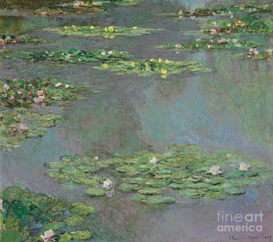 Lily Pond; Impressionist; Giverny; Blue; Flowers; Green; Lily Pad; Lily Pads; Pond; Pink;  Water Lillies Painting - Nympheas by Claude Monet