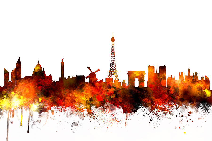 Paris France Skyline Digital Art By Michael Tompsett