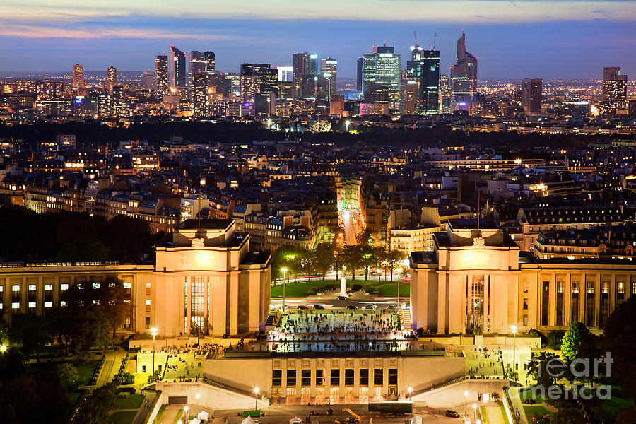 Paris Panorama France At Night Photograph