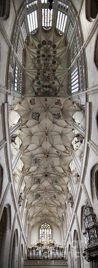 pointed vault of Saint Barbara church Photograph  - pointed vault of Saint Barbara church Fine Art Print