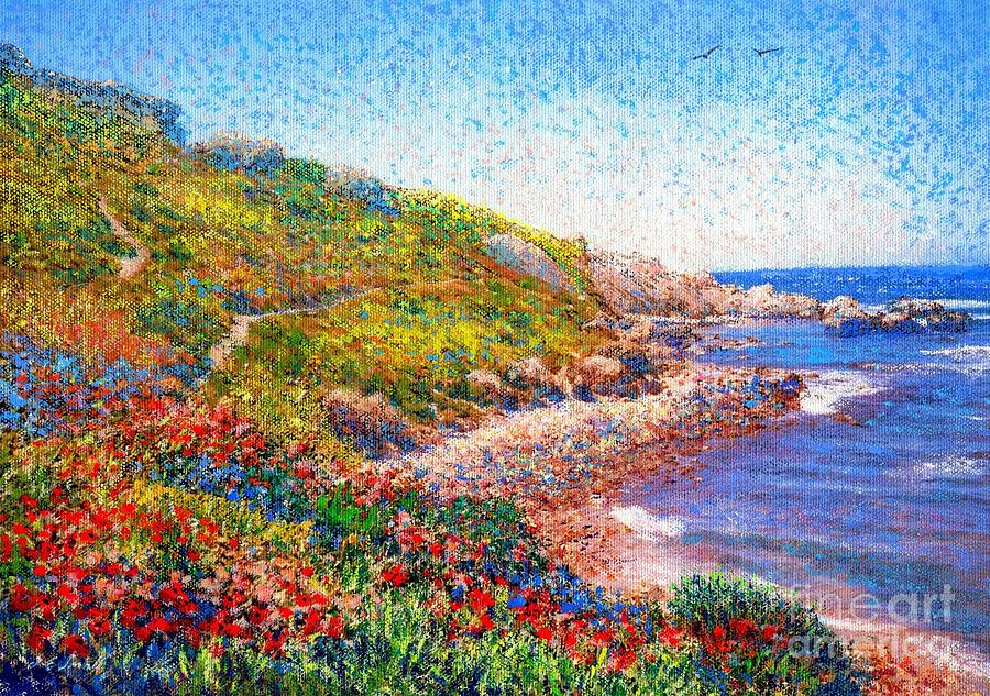 Poppies By The Sea Painting  - Poppies By The Sea Fine Art Print