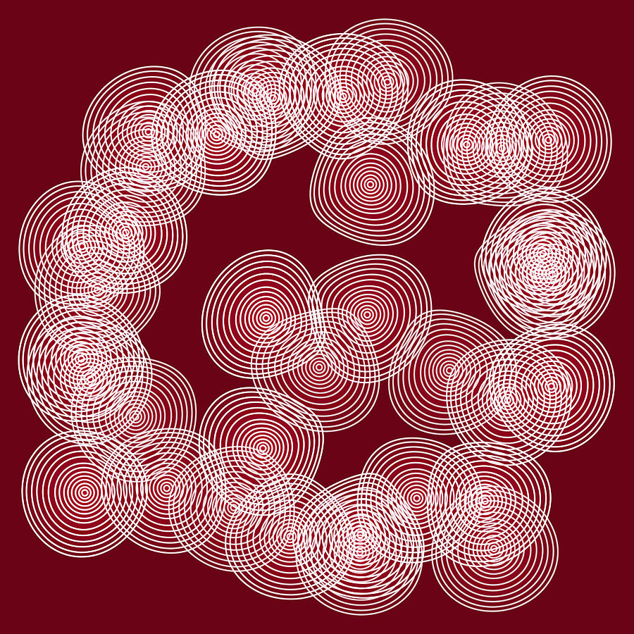 Red Abstract Circles Drawing  - Red Abstract Circles Fine Art Print