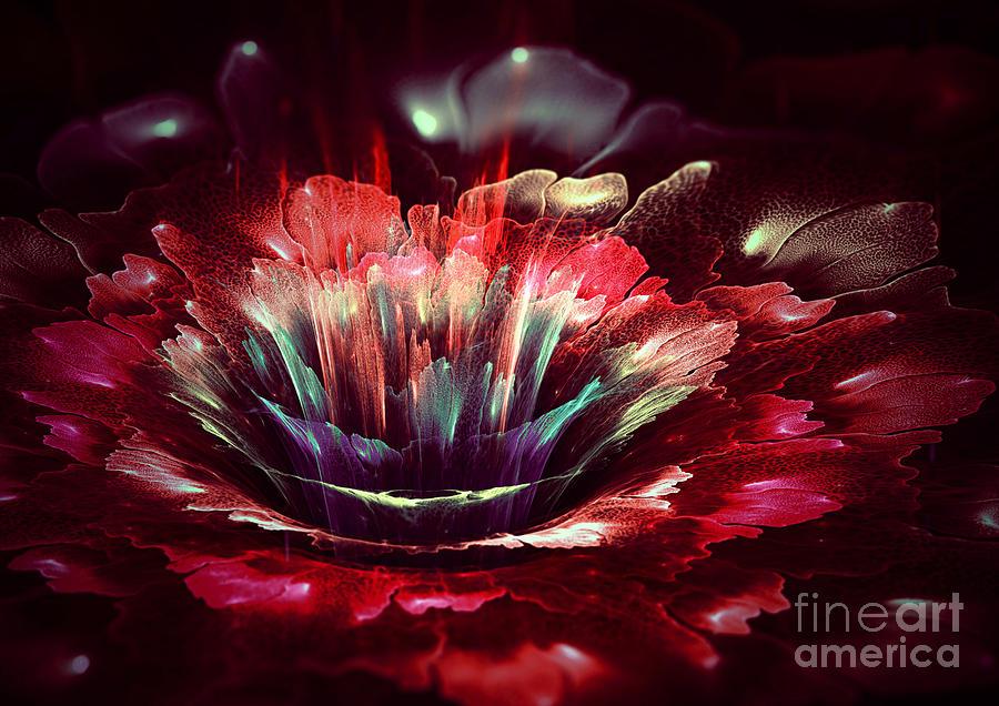Red Fractal Flower Digital Art