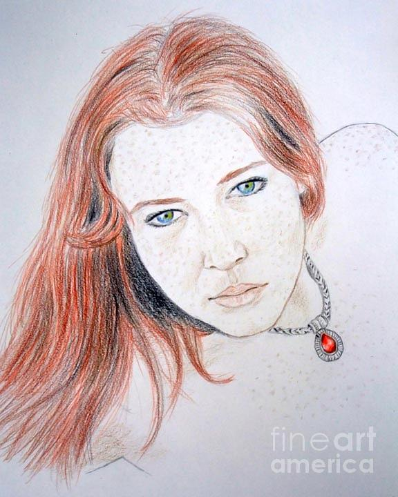 Red Hair And Freckled Beauty Drawing