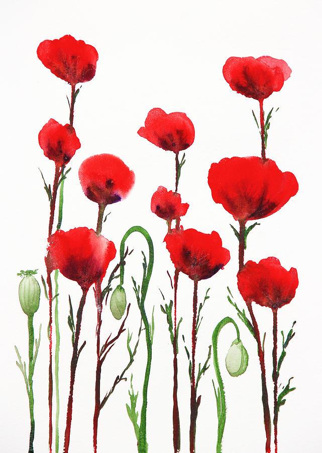 Poppies Painting - Red Poppies by Irina Sztukowski