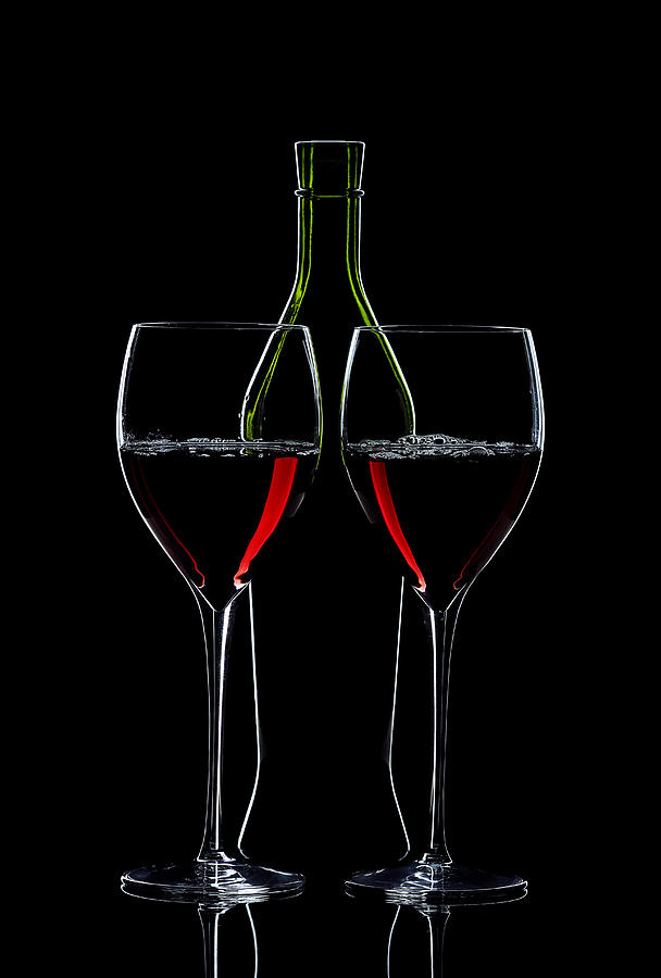 Red Wine Bottle And Wineglasses Silhouette Photograph  - Red Wine Bottle And Wineglasses Silhouette Fine Art Print