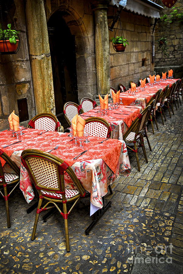 Restaurant Patio In France Photograph