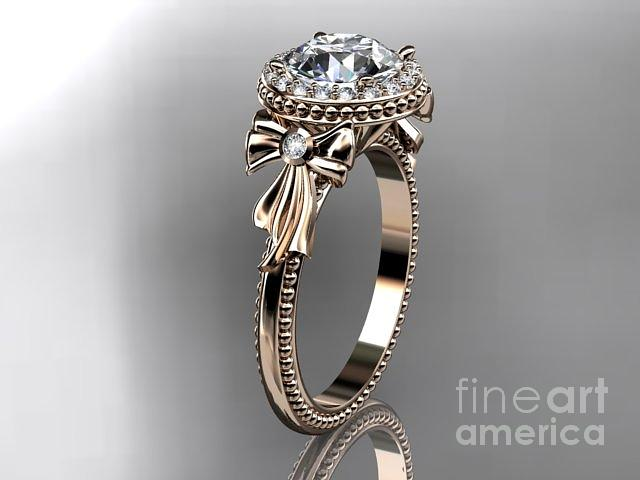 Rose Gold Diamond Unique Engagement Ring Wedding Ring  Jewelry