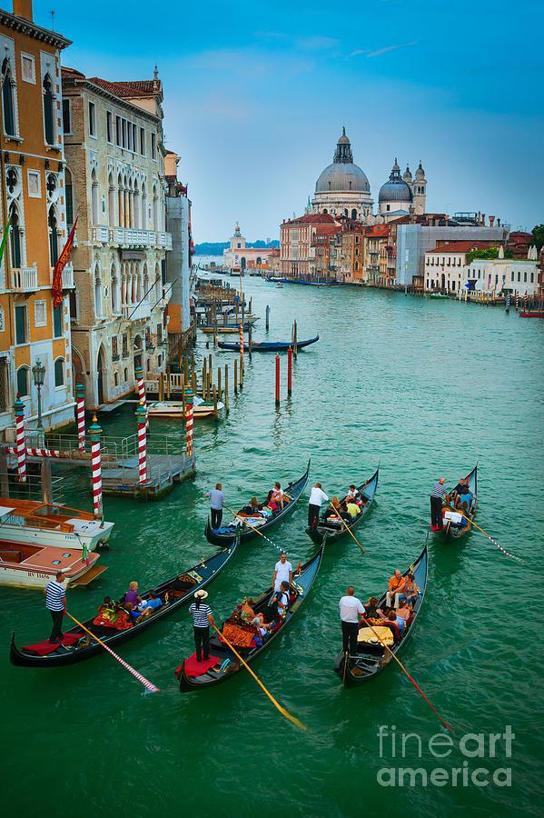 Canal Grande Photograph - Six Gondolas by Inge Johnsson