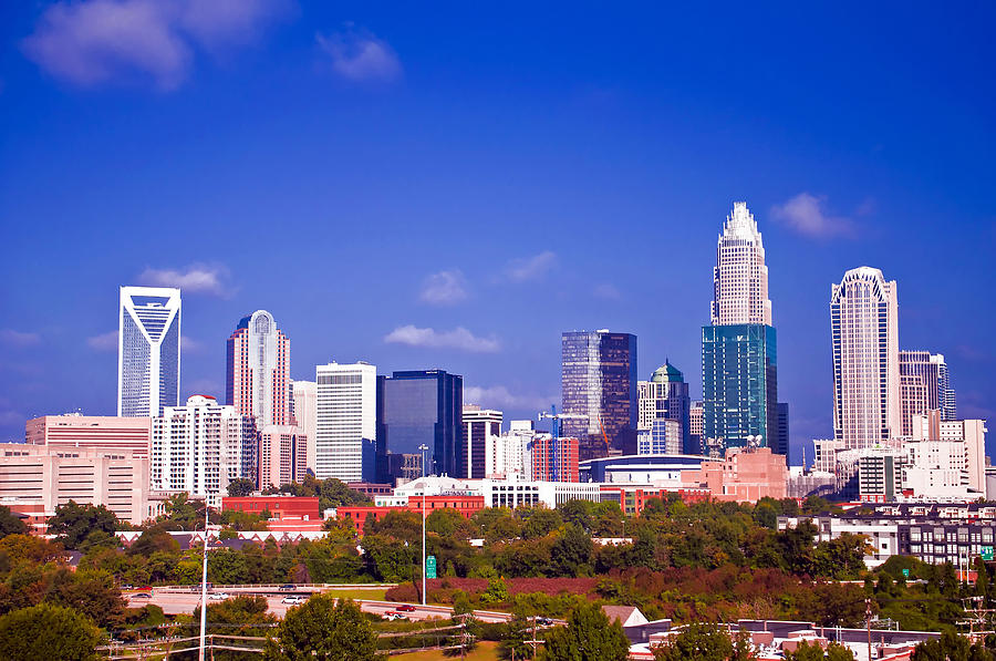 Skyline Of Uptown Charlotte North Carolina At Night Photograph