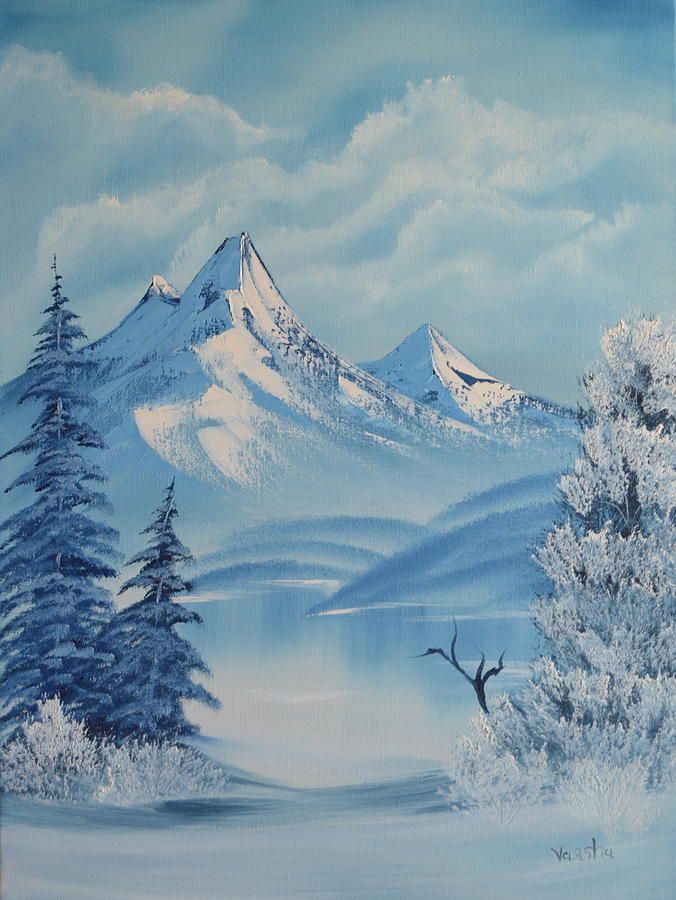 Landscape Painting - Snowy Mountain by Varsha Patel