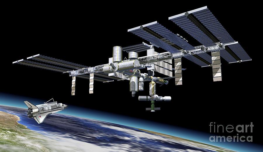 Space Station In Orbit Around Earth Digital Art
