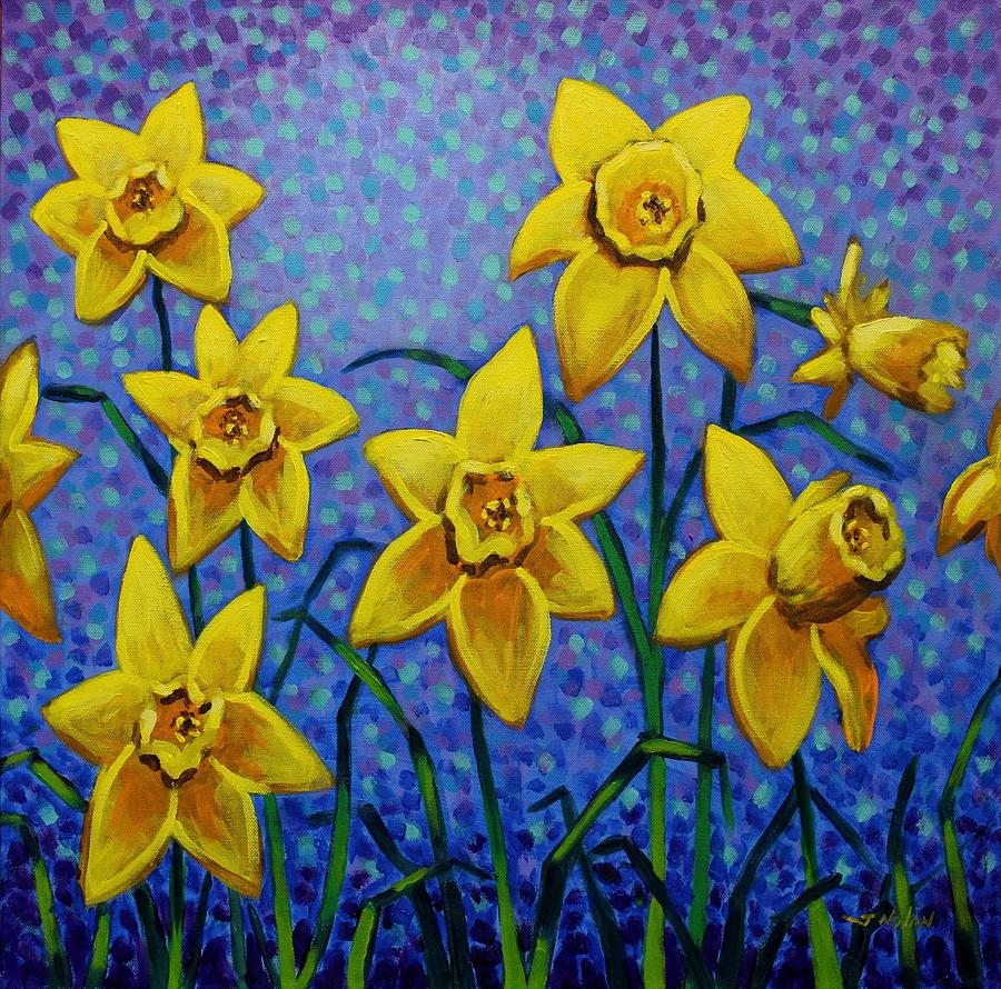 Acrylic Painting - Spring Daffodils by John  Nolan