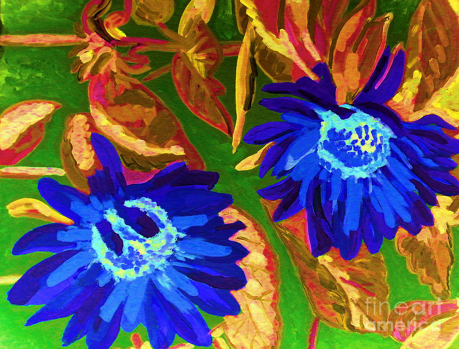 Abstract Painting - Sunflower by Vicky Tarcau