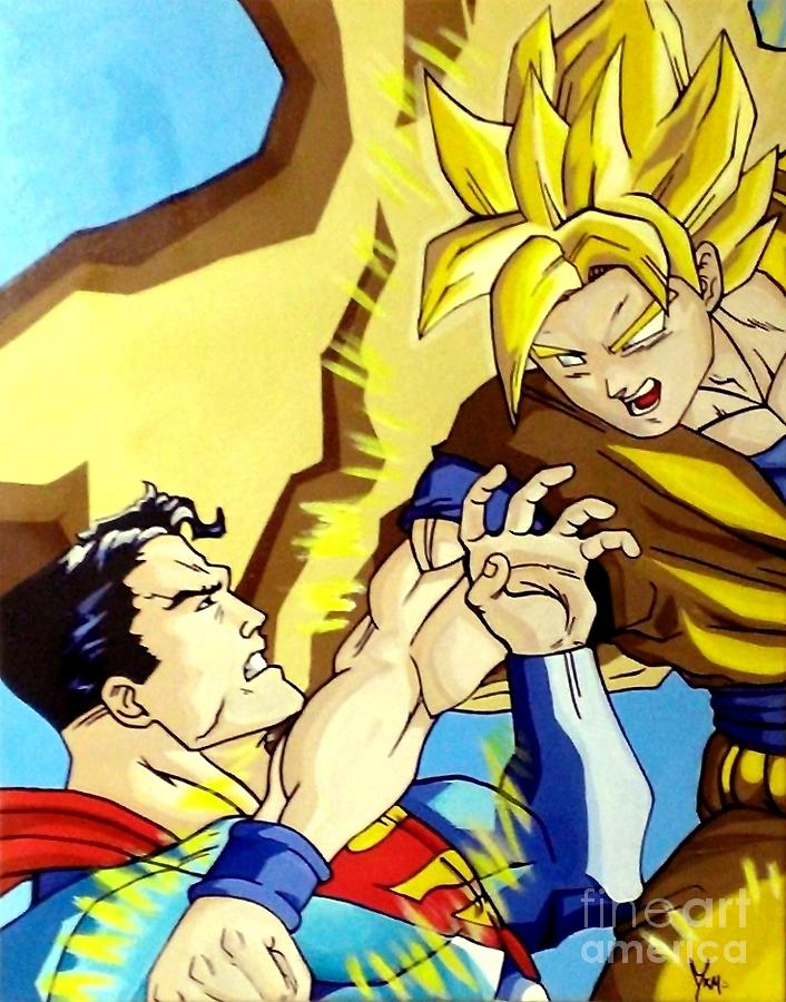 Super Man Vs Goku Painting