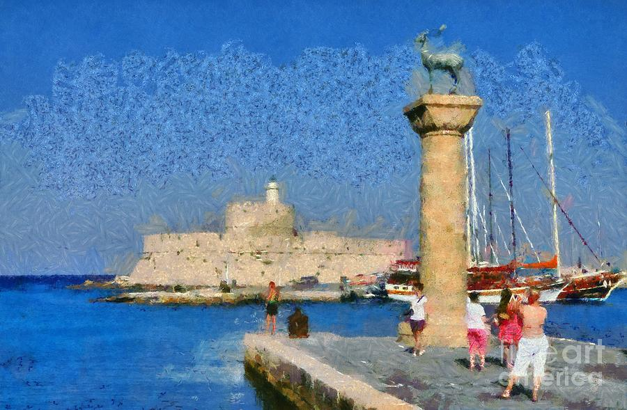 Taking Pictures At The Entrance Of Mandraki Port Painting