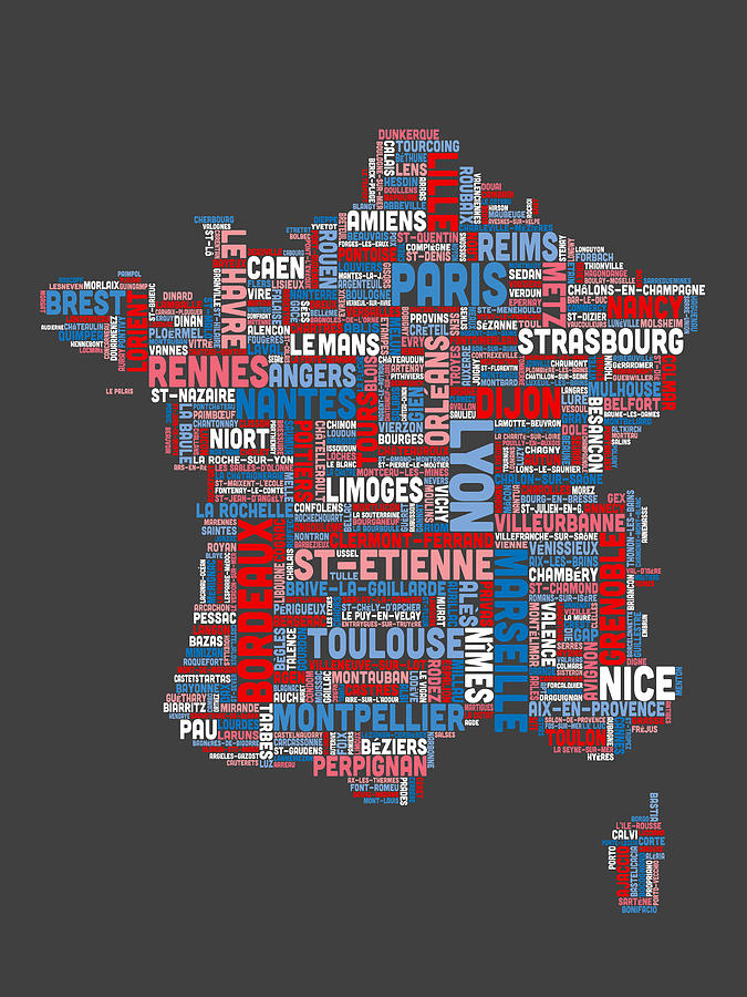 Text Map Of France Map Digital Art