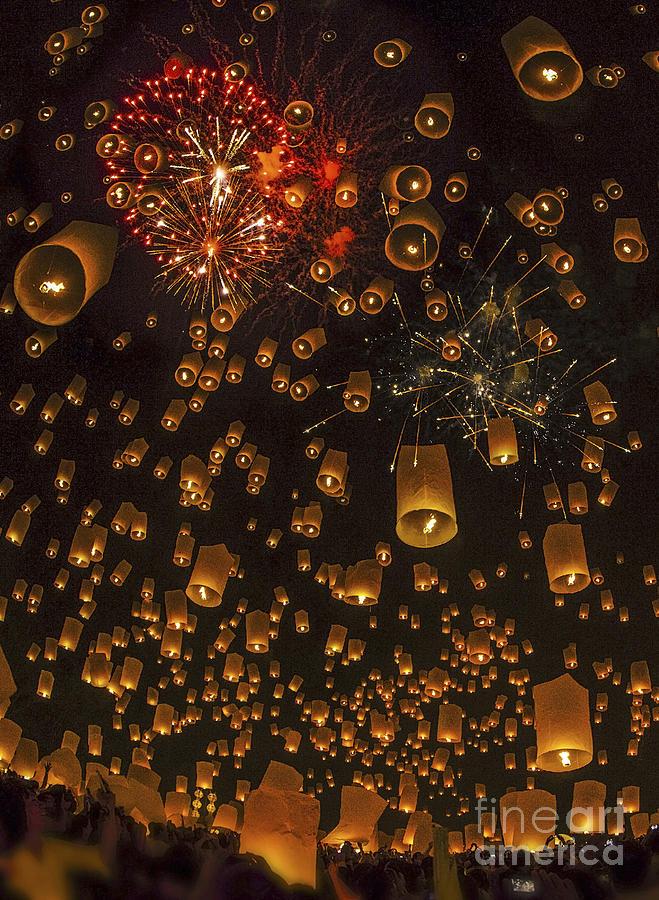 Air Photograph - Thai People Floating Lamp by Anek Suwannaphoom