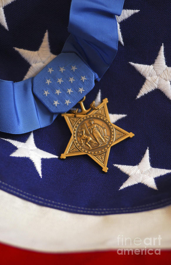 The Medal Of Honor Rests On A Flag Photograph  - The Medal Of Honor Rests On A Flag Fine Art Print