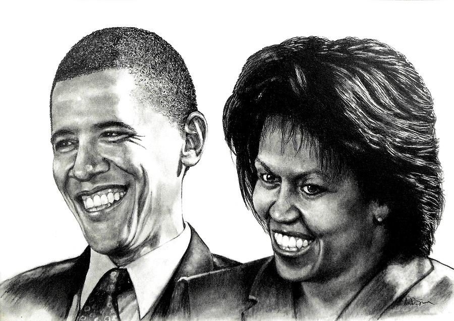 President Drawing - The Obamas by Todd Spaur