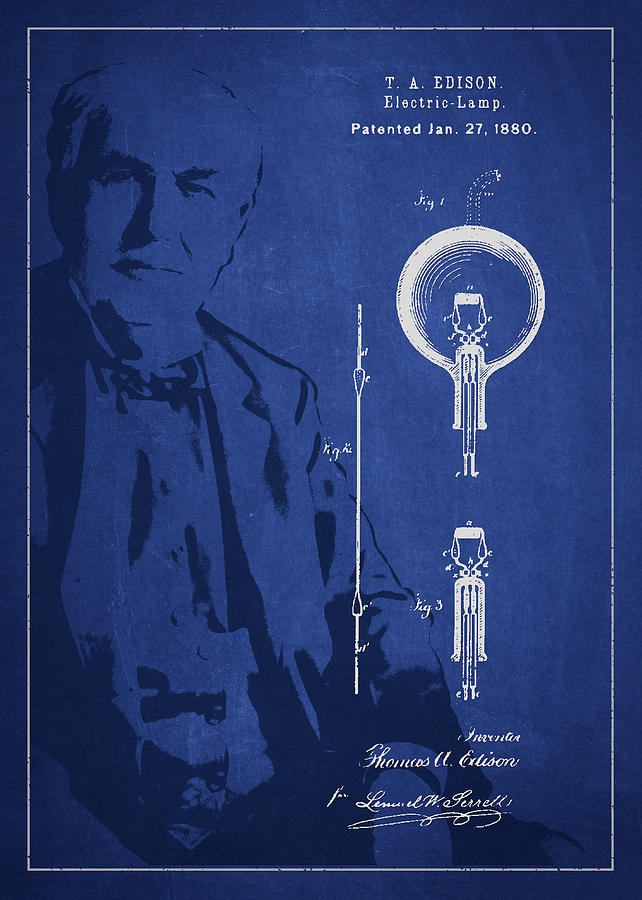 Thomas Edison Drawing - Thomas Edison Electric Lamp Patent Drawing From 1880 by Aged Pixel