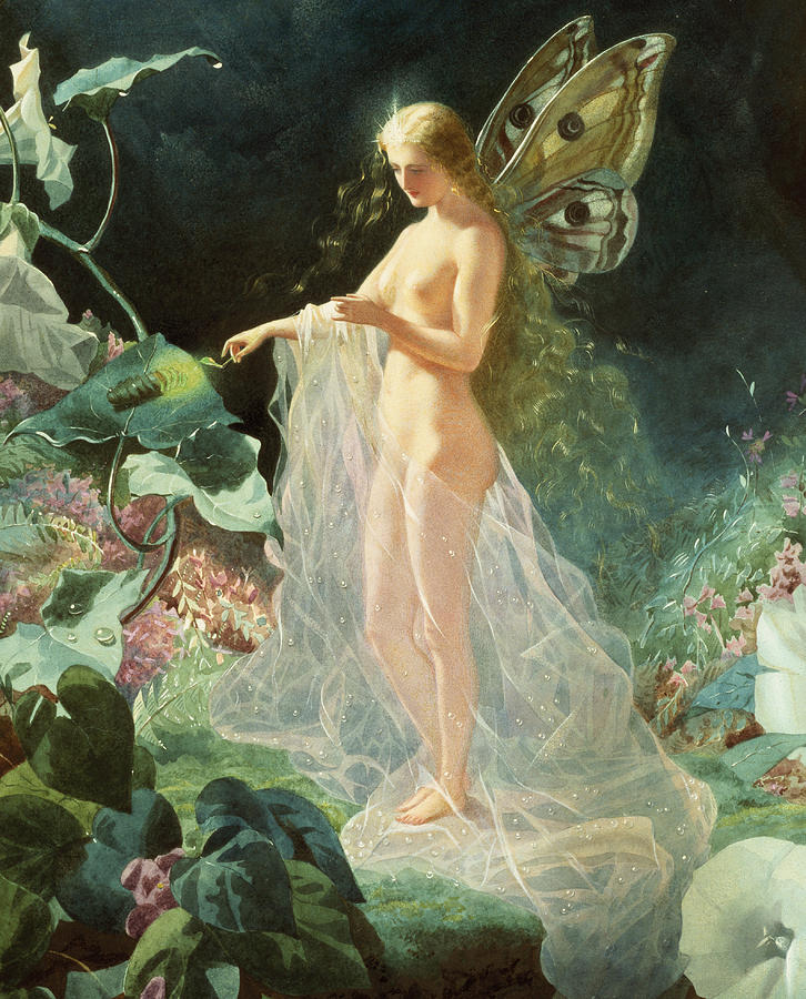 A Midsummer Night's Dream; Queen; Fairy; Nude; Female; Gossamer; Dewdrops; Lighting Taper; Glow Worm; Star; Titania; John; Simmons; John Simmons; Watercolour; Watercolor; Gouache; Ethereal; Angelic; Angel; Fantasy; Magic; Light; William; Shakespeare; William Shakespeare; Titania; Flowers; Floral; Garden; Flower; Feminine; Woman; Body; Female Body; Sheer; Heaven; Heavenly; Gossamer; Unearthly; Unworldly; Magical; Radiant; Supernatural; Pixie; Mythical; Myth; Mythological; Mythology; Legend; Lore Painting - Titania by John Simmons