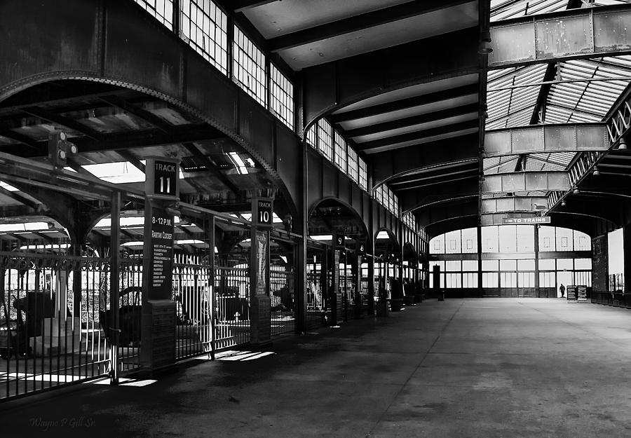 Black Photograph - Train Station by Wayne Gill