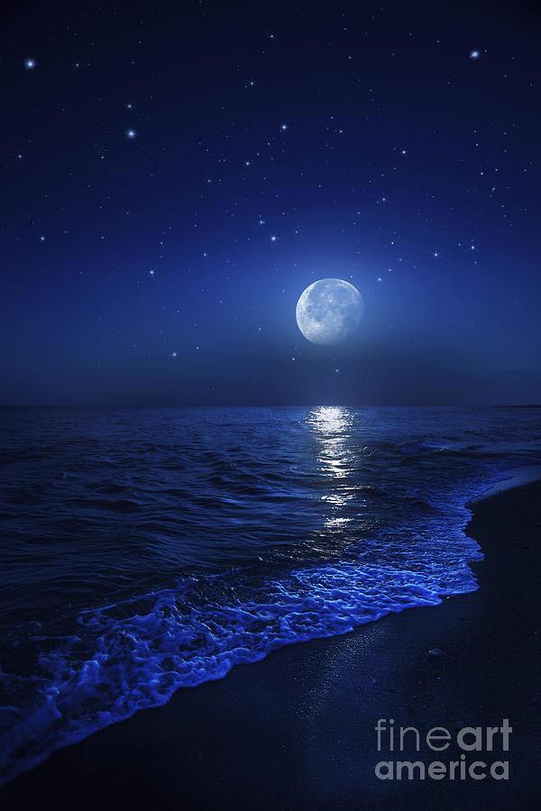 Tranquil Ocean At Night Against Starry Photograph