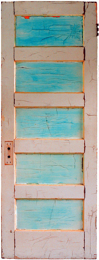 Turquoise Doorway And Ladder To The Sky Painting  - Turquoise Doorway And Ladder To The Sky Fine Art Print