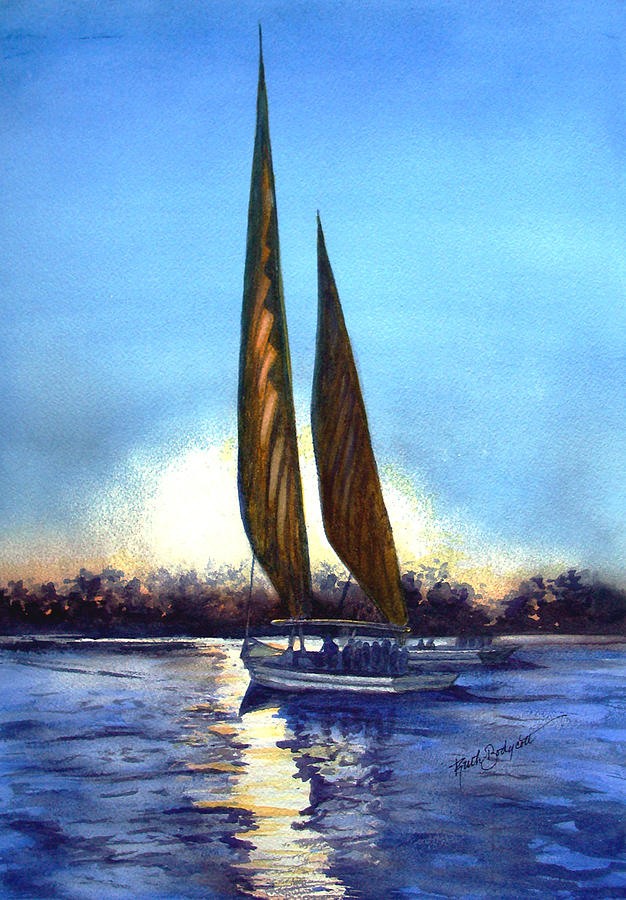 Two Sails At Sunset Painting