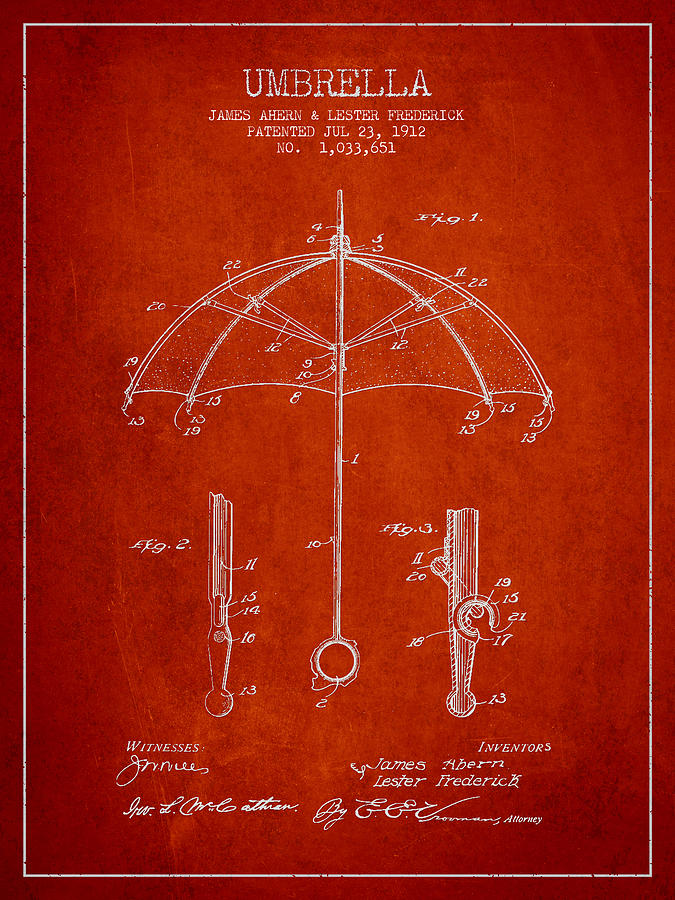 Umbrella Patent Drawing From 1912 Drawing