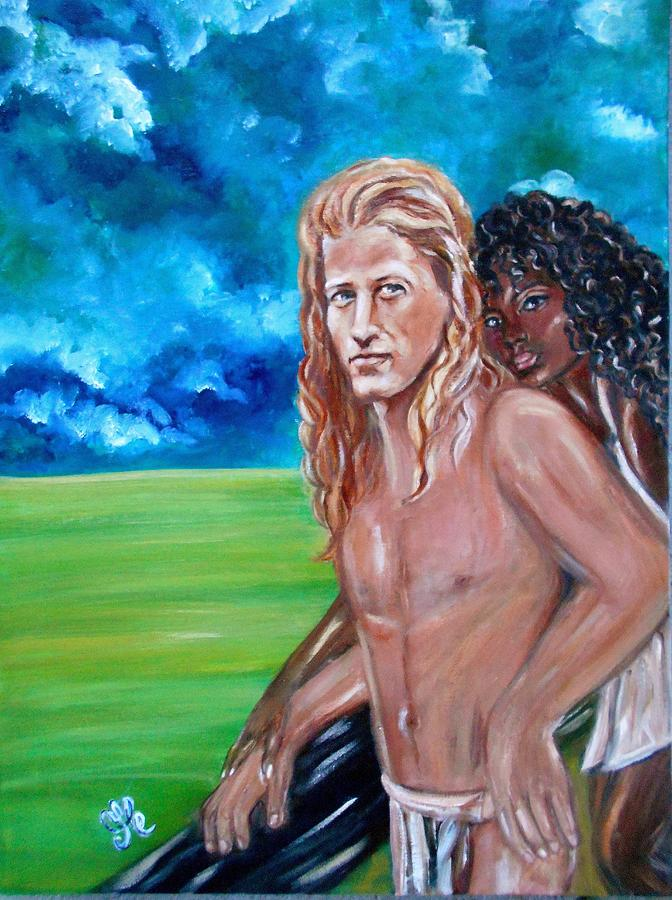 Vikings In America B.h.  - Interracial Lovers Series Painting  - Vikings In America B.h.  - Interracial Lovers Series Fine Art Print
